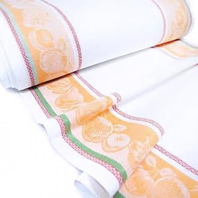 Ткань на отрез полулен полотенечный 50 см Жаккард цвет оранжевый фото