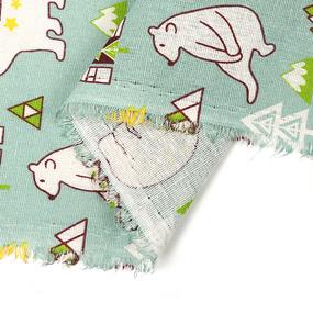 Ткань на отрез лен TBY-DJ-38 Белый мишка фото
