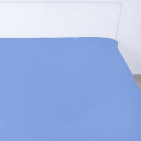 Простынь на резинке сатин цвет синий 180/200/20 см фото