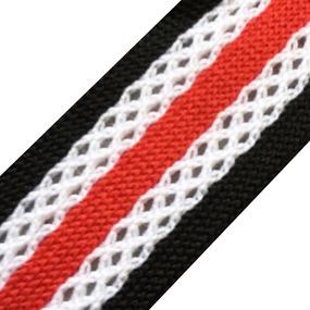 Лампасы №33 черные красная полосы с перфорацией 2,5см уп 10 м фото
