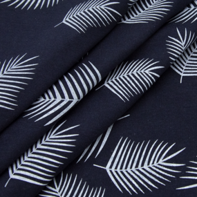 Ткань на отрез кулирка 1370-V1 Лист пальмы на синем фото