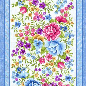 Ткань на отрез вафельное полотно 50 см 5618/1 Цветочная вышивка фото