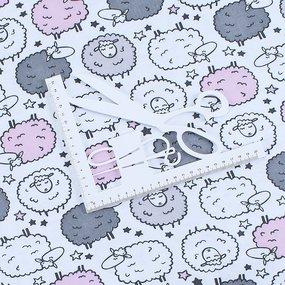 Ткань на отрез интерлок пенье Овечки 4096-18 фото