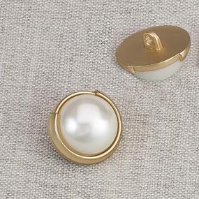 Пуговица металл ПМ51 18мм золото жемчуг уп 12 шт фото