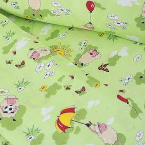Постельное белье в детскую кроватку из бязи 317/3 Овечки зеленый ГОСТ фото