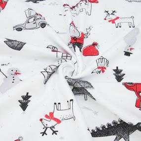 Ткань на отрез интерлок Дед мороз и автомобили 2731-21 фото