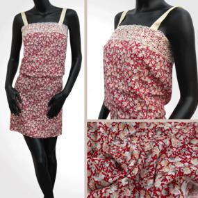 Ткань на отрез штапель 150 см 14556 Цветы на красном фото