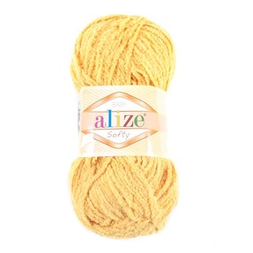 Пряжа для вязания Ализе Softy (100% микрополиэстер) 50гр/115 м цвет 216 желтый фото