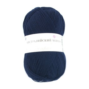 Пряжа для вязания ПЕХ Австралийский меринос 100гр/400м цвет 004 темно-синий фото