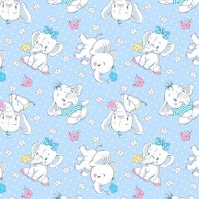Ткань на отрез ситец 95 см 20104/2 Слоники цвет голубой фото