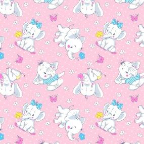 Ткань на отрез ситец 95 см 20104/3 Слоники цвет розовый фото