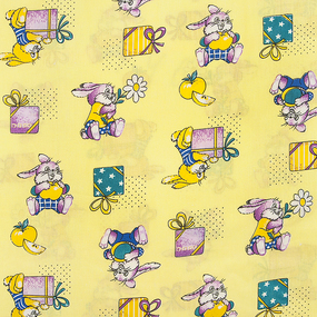 Маломеры бязь ГОСТ детская 150 см 598/3 Братцы кролики цвет желтый 2,2 м фото