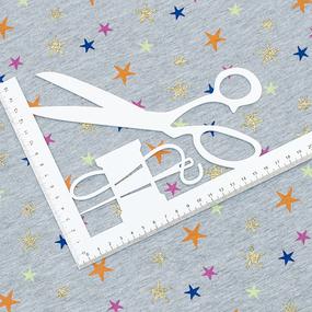 Маломеры кулирка лайкра с глиттером Звезды радужные R332 0.7 м фото