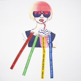 Нашивка девушка в очках и с коктейлем 21*26,5см фото