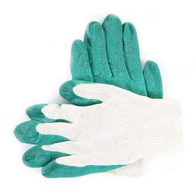 Перчатки рабочие облитые латексом 13-й класс зеленые фото