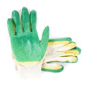 Перчатки рабочие облитые латексом 13-й класс желто-зеленые фото