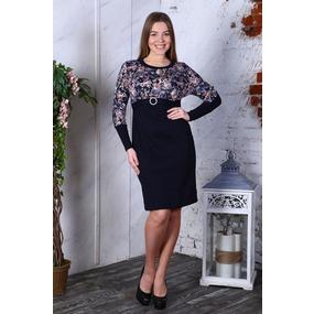Платье Леся интерлок светло розовые цветы+синий Д411 р 56 фото