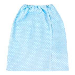 Вафельная накидка на резинке для бани и сауны женская 1171/1 цвет голубой фото