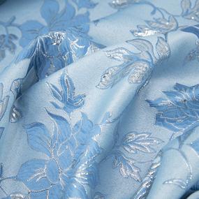 Портьерная ткань с люрексом 150 см на отрез H627 цвет 5 голубой цветы фото