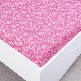 Простыня трикотажная на резинке Премиум цвет розы7 120/200/20 см фото