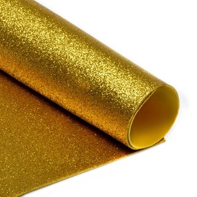 Фоамиран глиттерный 2 мм 20/30 см уп 10 шт MG.GLIT.H032 цвет золото фото