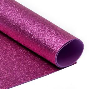 Фоамиран глиттерный 2 мм 20/30 см уп 10 шт MG.GLIT.H033 цвет ярко-розовый фото