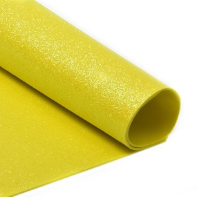 Фоамиран глиттерный 2 мм 20/30 см уп 10 шт MG.GLIT.H047 цвет желтый фото