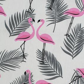 Ткань на отрез бязь 120 гр/м2 детская 150 см 7277/1 Фламинго на белом фото