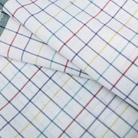 Ткань на отрез полулен полотенечный 50 см Клетка вид 3 фото