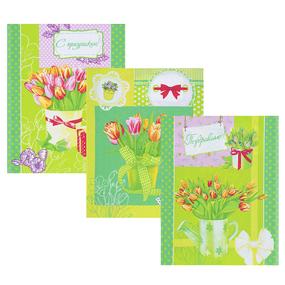 Набор вафельных полотенец 3 шт 45/60 см 449/2 Тюльпаны цвет зеленый фото