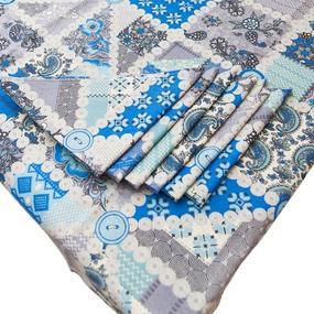 Столовый набор 4939/2 Пэчворк синий скатерть полулен 150/260 + 6 салфеток фото
