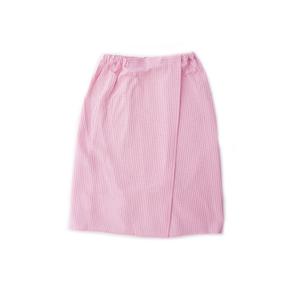 Вафельная накидка на резинке для бани и сауны Премиум женская с широкой резинкой цвет 706 розовый фото