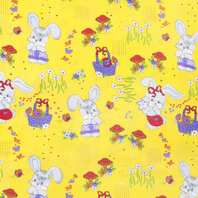 Бязь ГОСТ детская 150 см 1304/5 Лесная сказка цвет желтый фото