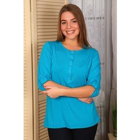 Блузка Элла вискоза голубая В295 р 56 фото
