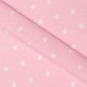 Бязь плательная 150 см 7356/32 звезды средние розовые о/м фото