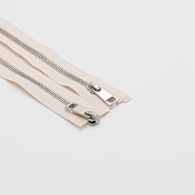 Молния металл №5СТ никель два замка 100см D123 бежевый фото