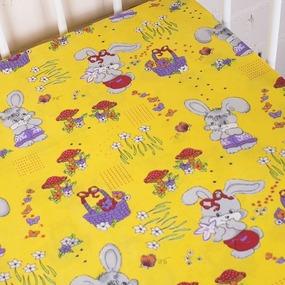 Простынь бязь детская 1304/5 Лесная сказка цвет желтый 110/150 см фото