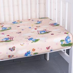 Простынь бязь детская 315/4 Слоники персик 110/150 см фото
