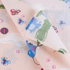 Набор детских пеленок бязь 4 шт 90/120 см 315/4 Слоники персик фото
