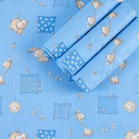 Набор детских пеленок бязь 4 шт 90/120 см 366/1 Жирафики цвет голубой фото