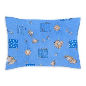 Наволочка бязь детская 366/1 Жирафики цвет голубой 40/60 см фото