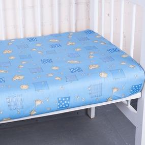 Простынь бязь детская 366/1 Жирафики цвет голубой 110/150 см фото