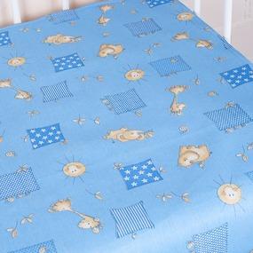 Простыня на резинке бязь детская 366/1 Жирафики цвет голубой 90/200/20 см фото