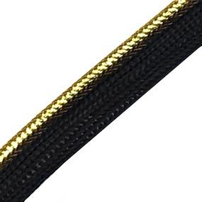 Лампасы №60 черные золотой кант 1,3см уп 10 м фото