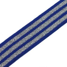 Лампасы №55 синие серебряные полосы с люриксом 2,8 см уп 10 м фото