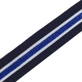 Лампасы №54 синяя белая голубой с люриксом 3 см уп 10 м фото