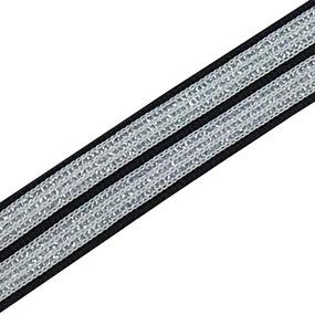 Лампасы №51 черно белые полосы серебро 2 см уп 10 м фото