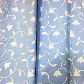 Ткань на отрез Тик 220 см 145 +/- 5 гр/м2 Вензель цвет голубой фото