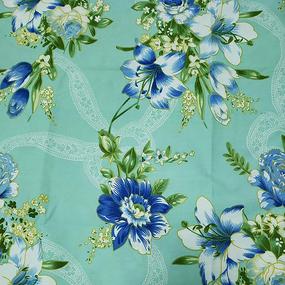 Ткань на отрез Тик 220 см 145 +/- 5 гр/м2 Цветная роза цвет бирюза 981 J фото