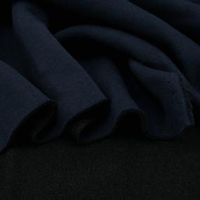 Ткань на отрез футер 3-х нитка компакт пенье начес цвет темно-синий 2 фото